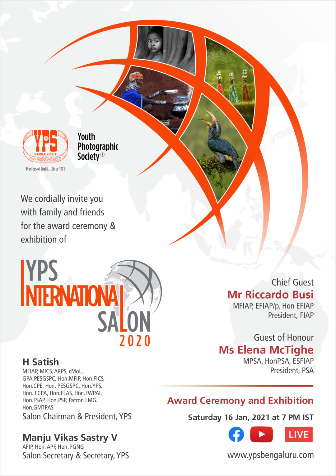 Invitation YPS International Salon 2020 Award Function and Exhibition on 16th Jan at 07:00 PM IST